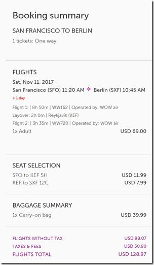 SFO-SXF $129 WOW bag seats