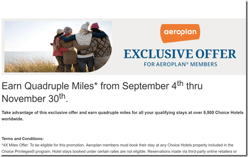 Choice Privileges Aeroplan4xmiles