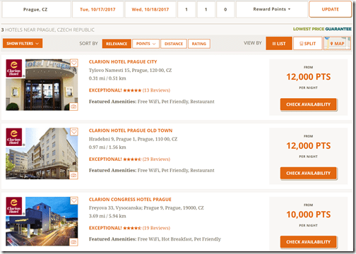 Choice Privileges Prague rates sep-6