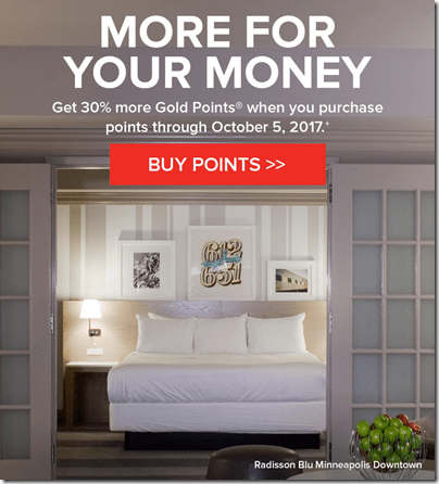 Club Carlson buy points 30% bonus