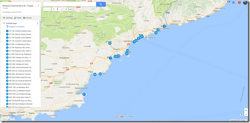 French Riviera Google Map chain hotels