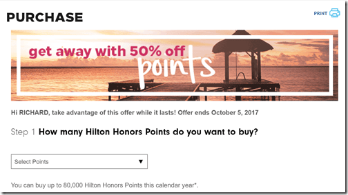 Hilton 50% off points