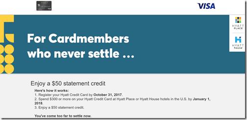 Hyatt Visa $50 credit for HP-HH stays