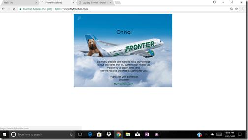 Frotnier error message