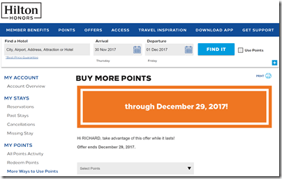Hilton Honors buy points 80%