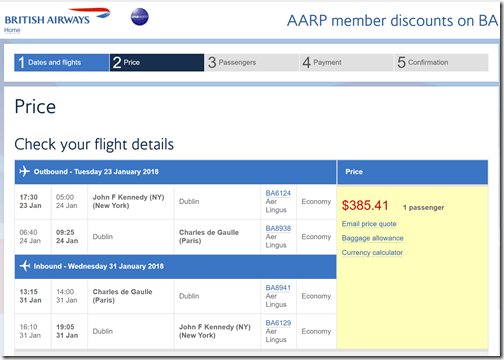 JFK-CDG $385 BA Jan21-29