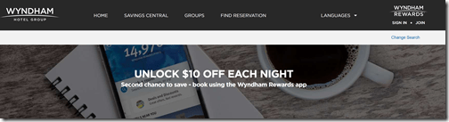 Wyndham Rewards $10 off app booking