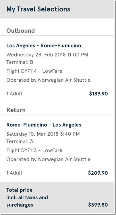 LAX-FCO $400 DY Feb28-Mar10