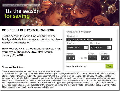 Radisson 20% off