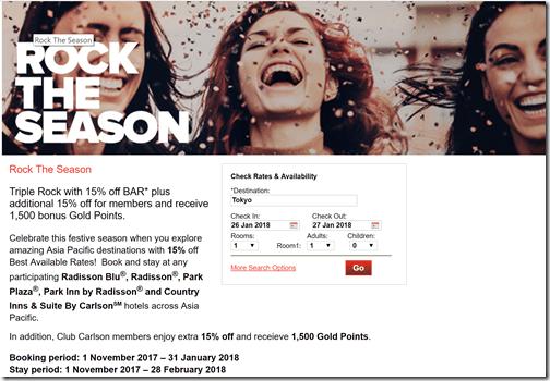 Club Carlson Rock the Season 30% off A-P