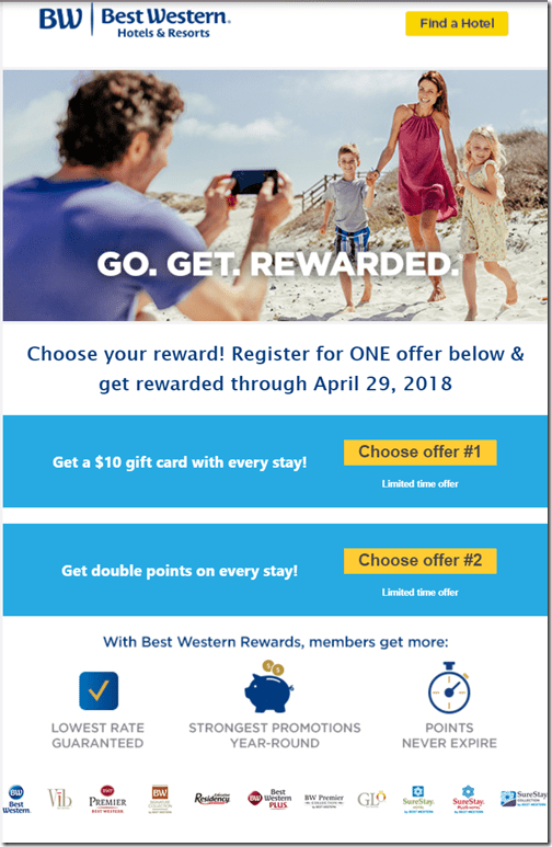 Best Western 2x points winter 2018