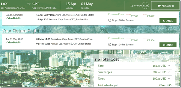 LAX-CPT $787-1 Ethiopian Apr15-May1