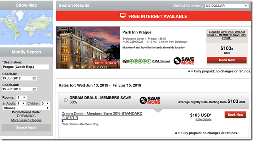 Park Inn Prague Dream Deals rate