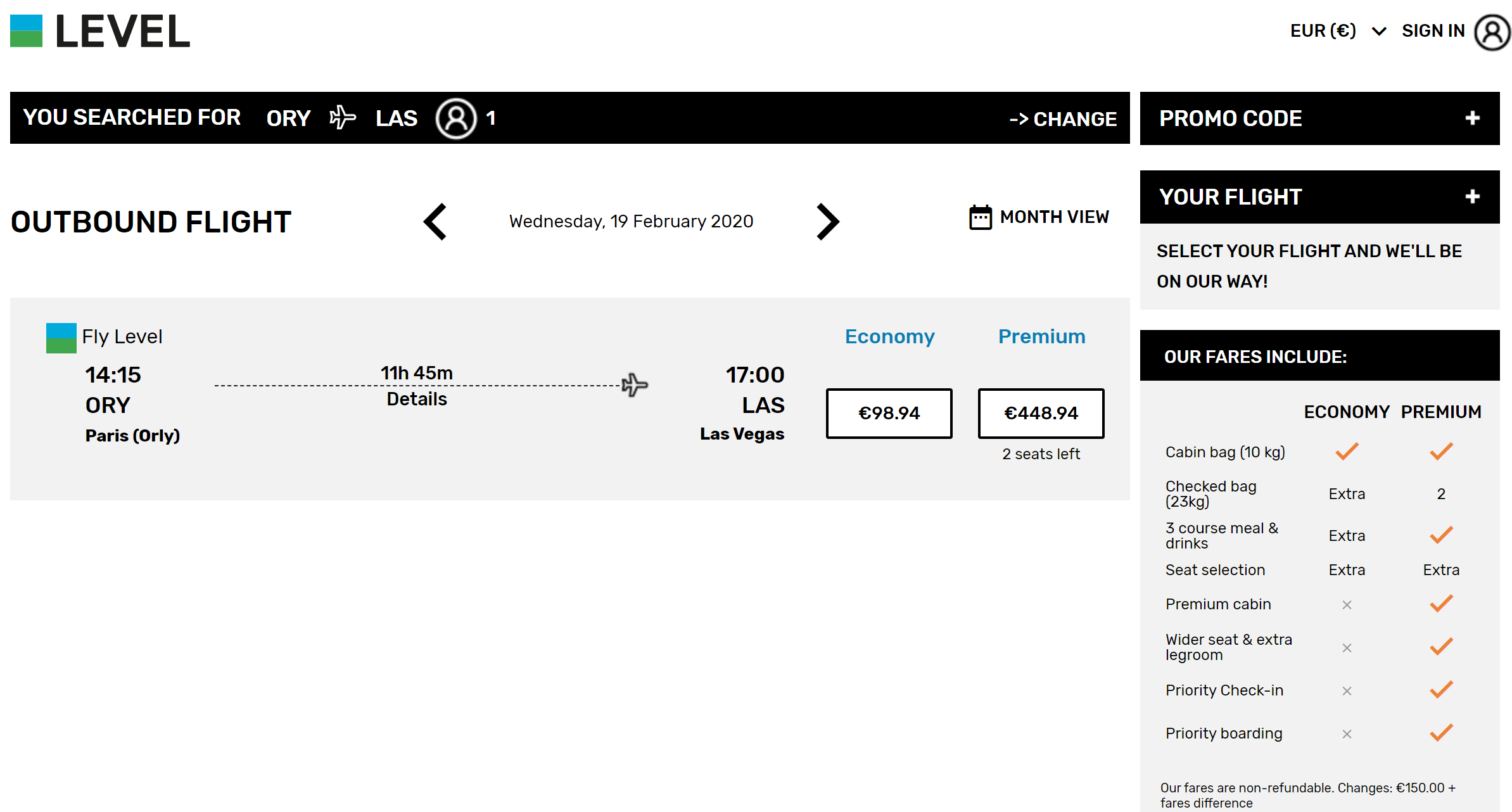 Level Airlines 219 Round Trip Las To Paris Orly Nov March