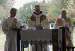 Deacon Robin Adair, Abbot Gary Hoover, OSB, and Abbot Clement Zeleznik, OSB