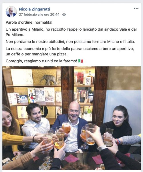 Un post del segretario del Partito Democratico, Nicola Zingaretti (poi risultato positivo al Coronavirus), sull'aperitivo a sostegno dell'economia milanese