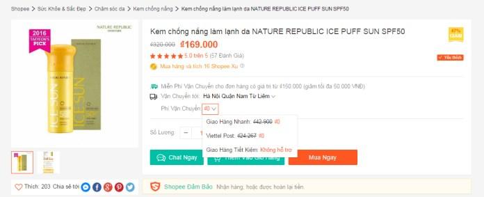 Xem phi van chuyen tren website
