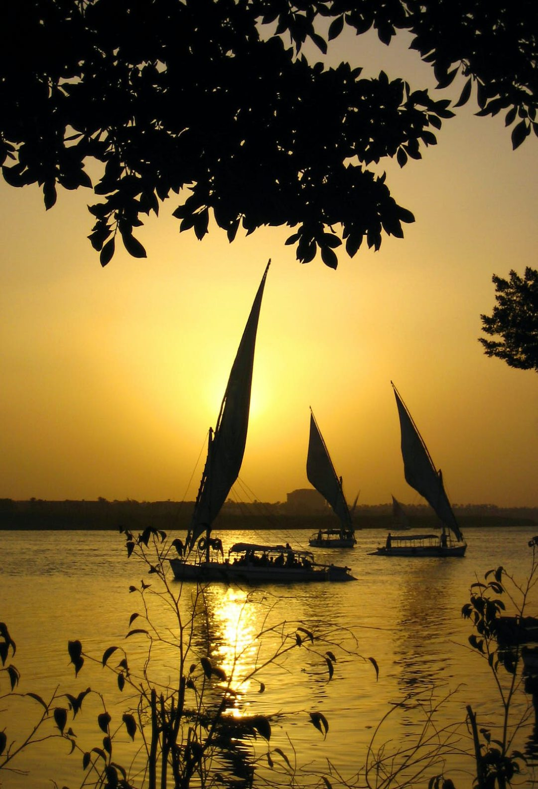 Sailing at sunset on the Nile near Cairo