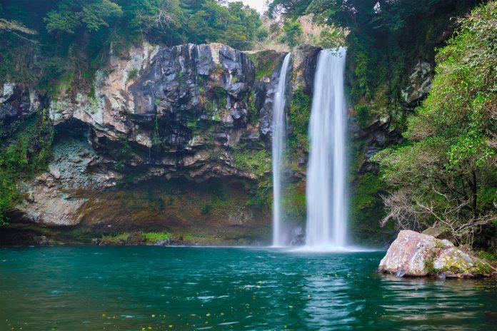Cheonjiyeon Falls in Jeju Island in South Korea