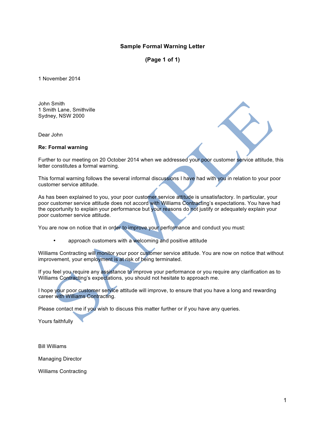 Formal Warning Letter Sample What Does The Partnership Agreement Cover