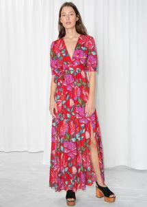 Floral Printed Dress - Red Maxi Dresses & Stories