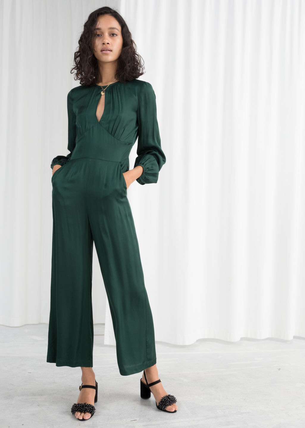 Long Sleeve Satin Jumpsuit  Green  Jumpsuits  Playsuits