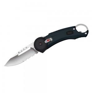 7750.BK lp affutages Couteau BUCK REDPOINT 0750BKX lame acier 420 a dents système de sécurité à l'ouverture-fermeture manche 11 cm noir anneau décapsuleur clip