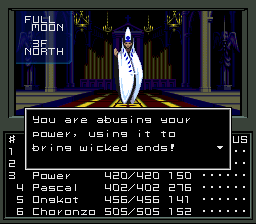 Shin Megami Tensei 1, with the Law-aligned hero berating us for going against his faction