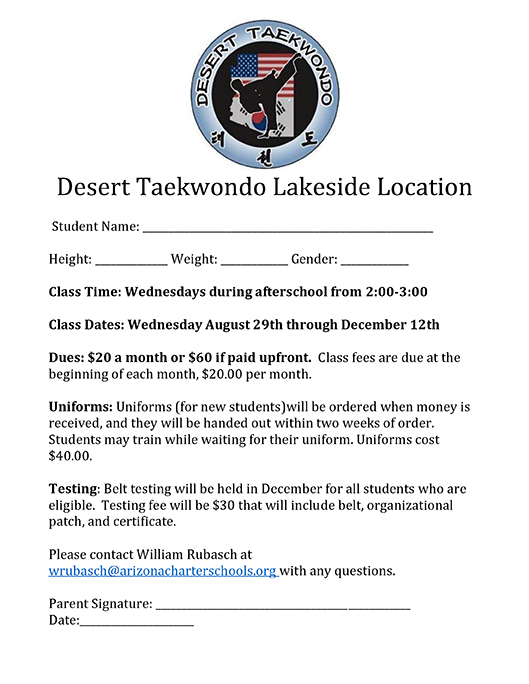 Sign Up For Weekly Taekwondo Classes