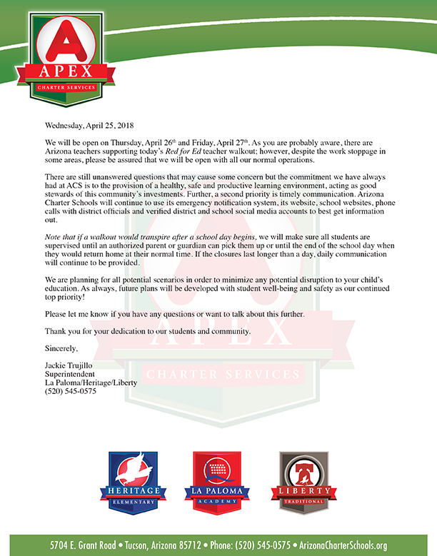 Red for Ed Letter from Superintendent Jackie Trujillo