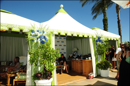 Photo of festive decorated cabanas at Yoplait Greek Beverly Hills Event