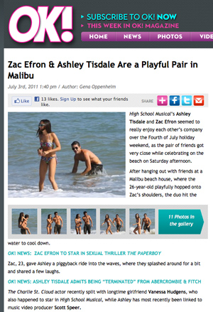screen capture of OK with photo of Zac Efron and Ashley Tisdale in swimsuits partying on beach