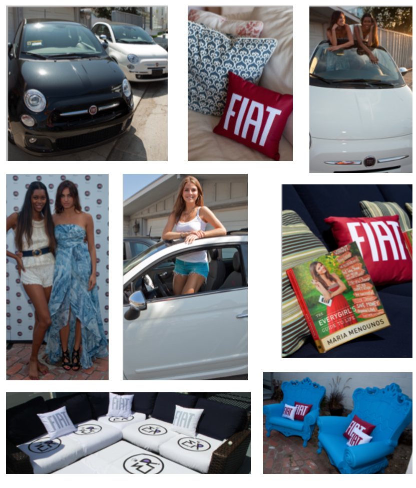 photo montage of Fiat cars, special guests, event furnishings with Fiat brand art, at Fiat Malibu Beach Event