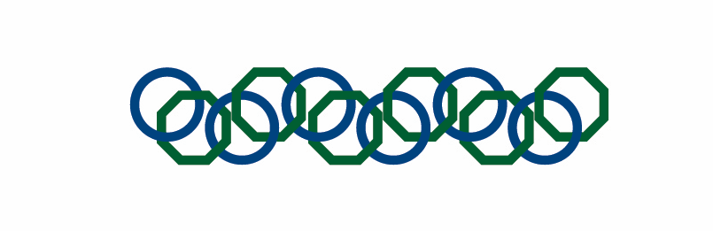 Blue circles and green octagons interconnected in a row -- this is a design element