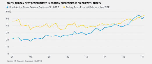 South African Debt Denominated in Foreign Currencies is on Par with Turkey