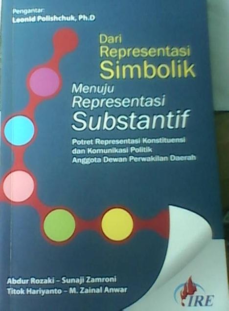 """Sampul buku """"Dari Representasi Simbolik Menuju Representasi Substantif """" karya Abdur Rozaki dkk,"""