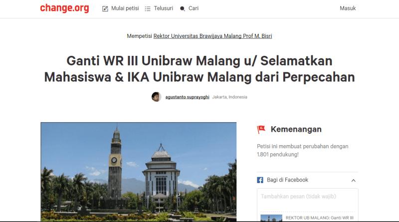 Rektor UB Tanggapi Petisi Online