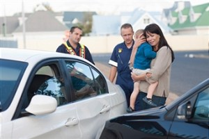 Family at car accident