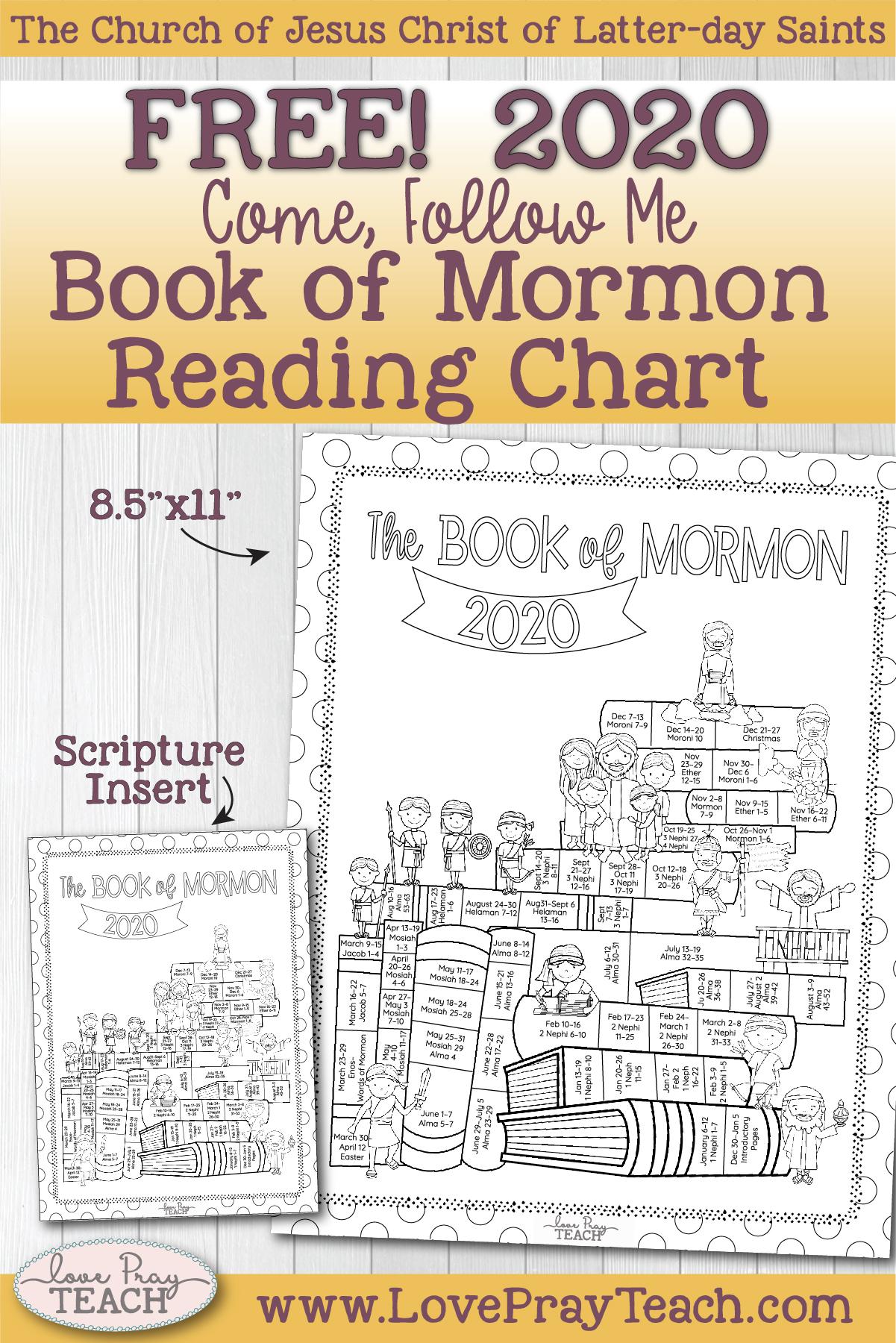 Free Come Follow Me Book Of Mormon Reading Chart