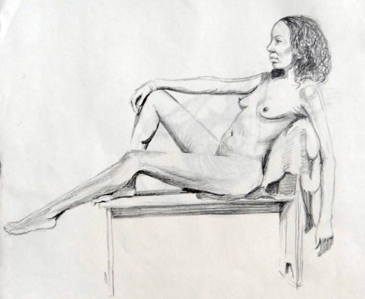 Reclining nude 1. Pencil