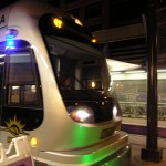 light rail station at night
