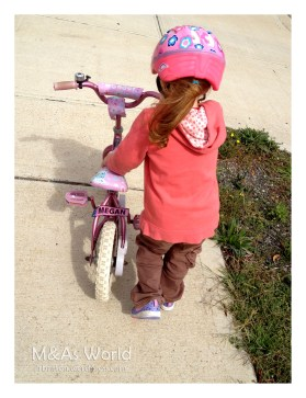Too much time on the bike- tears and tantrums when she fell off so walking the bike instead.