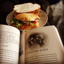Perfect lunch on a cold and windy day...saladsandwich and a book in my bedroom with the door closed