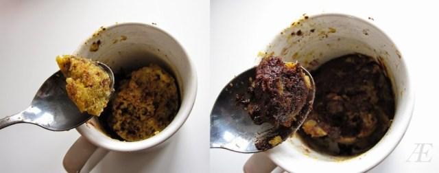 Toppen af min paleo-venlige kage i en kop, uden så meget chokolade og bunden med mere chokolade