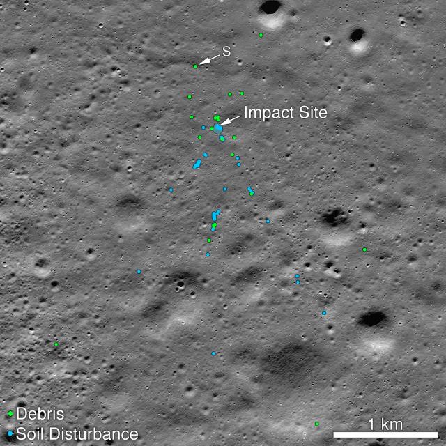 Vikram Lander Crash Location on the Moon