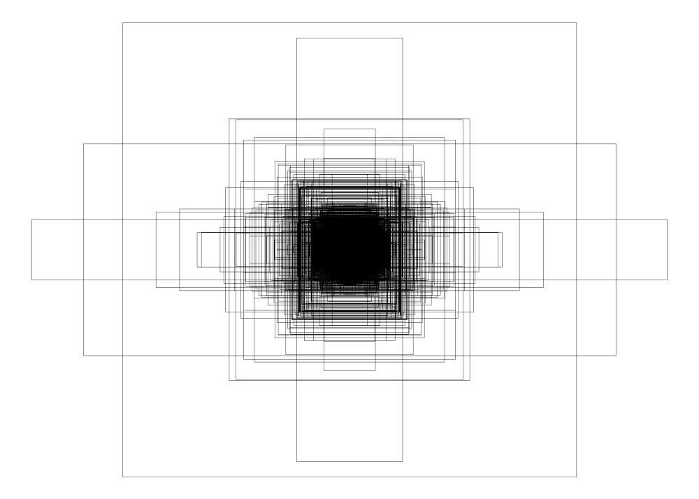 Series of overlapping squares showing The size of 23,557 artworks in the Finnish National Gallery