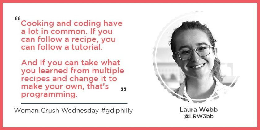 Quote from Laura Webb with headshot and link to GDI Philly