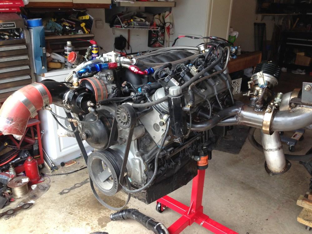 medium resolution of 4 8 iron block twin turbo engine complete wheels 255 jpg