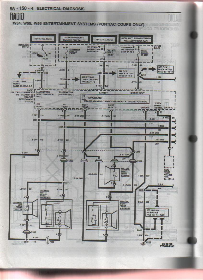 hight resolution of 1996 10 speaker pontiac system pre monsoon aftermarket 5 channel 95 firebird monsoon stereo wiring diagrams
