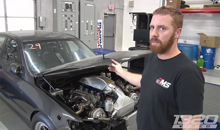The 1100 HP Twin-Turbo LSX Lexus IS300 is an Asian-American Dragster